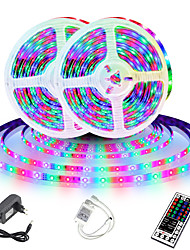 cheap -LED Strip Light (2x5M)10M 32.8ft 2835 RGB 600leds 8mm Strips Lighting Flexible Color Changing with 44 Key IR Remote Ideal for Home Kitchen Christmas TV Back Lights DC 12V