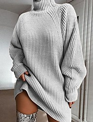 cheap -Women's Basic Knitted Solid Colored Pullover Long Sleeve Loose Sweater Cardigans Turtleneck Fall Winter Blushing Pink Wine Light gray