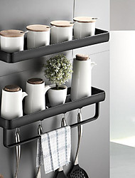 cheap -30cm Kitchen Bathroom Shelf Bath Shower Shelf Aluminum Black Bathroom Corner Shelf Wall Mounted Black Aluminum Kitchen Storage Holder