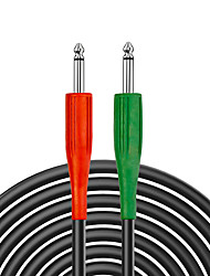 cheap -NAOMI 3M Guitar Bass Cable 1/4 inch Audio Cable Heavy Duty 6.35mm Male to Male Jack Balanced Audio Patch Cord Interconnect Cable Red&Green Plug