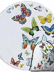 "cheap -butterfly beach mat beach throw roundie towel and drawstring backpack set round meditation yoga mat sunscreen shawl wrap skirt & #40;colorful butterflies, 60""& #41;"