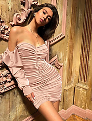 cheap -Women's Sheath Dress Short Mini Dress - Long Sleeve Solid Color Backless Ruched Summer Strapless Sexy Party Club 2020 Black Dusty Rose Gray S M L