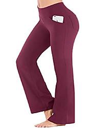 رخيصةأون -السراويل اليوغا bootcut مع جيوب للنساء عالية الخصر تجريب السراويل bootleg البطن تحكم ، 4 جيوب السراويل العمل للنساء المارون