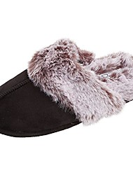 cheap -comfy faux fur womens house slipper scuff memory foam slip on anti-skid sole & #40;size large, sand& #41;