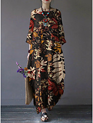 cheap -Women's Swing Dress Maxi long Dress - 3/4 Length Sleeve Print Print Fall Vintage Chinoiserie Going out Cotton Loose 2020 Red Green Brown M L XL XXL 3XL 4XL 5XL