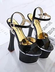 cheap -Women's Dance Shoes Pole Dancing Shoes Heel Flared Heel Black Silver Buckle