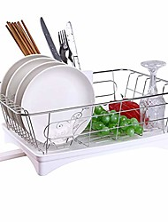 cheap -dish drain, stainless steel dish drying rack- single layer drain dish rack with drain board & utensil holder, kitchen dishware storage stand for plates, glasses & silverware - white