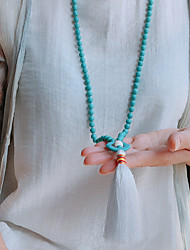 cheap -Women's Pendant Necklace Beaded Necklace Tassel Friends Lucky Peace Sign Unique Design Fashion Modern Trendy Stone White Blue 88 cm Necklace Jewelry 1pc For Party Evening Street Birthday Party Beach