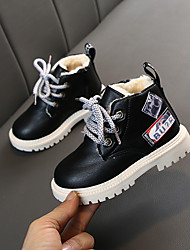 cheap -Boys' / Girls' Boots Snow Boots PU Lace up Little Kids(4-7ys) Walking Shoes Split Joint White / Black / Yellow Fall / Booties / Ankle Boots