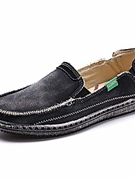 cheap -mens canvas shoes slip on deck shoes boat shoes non slip casual loafer flat outdoor sneakers & #40;8.5 us,new-dark grey& #41;