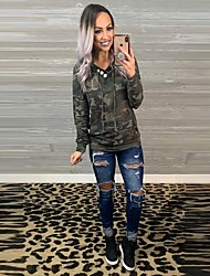 cheap -Women's Pullover Hoodie Sweatshirt Leopard Basic Hoodies Sweatshirts  Green Gray