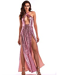 cheap -Women's A-Line Dress Maxi long Dress - Sleeveless Solid Color Backless Sequins Split Summer Strapless Sexy Party Club Slim 2020 Blushing Pink Wine S M L XL
