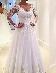 cheap -Ball Gown Wedding Dresses V Neck Sweep / Brush Train Lace Tulle Long Sleeve Formal with Appliques 2021