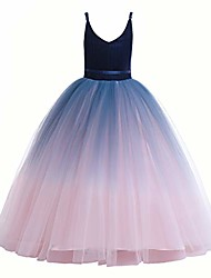 cheap -girls lace bridesmaid dress long a line wedding pageant dresses flower girls princess ombre tulle party gown age 3-16y & # 40; 3t - 4t, v-navy blue& blush pink& #41;