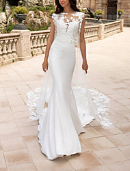 cheap -Mermaid / Trumpet Wedding Dresses Jewel Neck Court Train Lace Satin Tulle Sleeveless Vintage with Appliques 2020