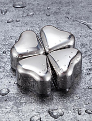 cheap -Chilling Stones Ice Cube Heart Shape 304 Stainless Steel Ice Cubes Reusable Chilling Stones for Whiskey Wine Cocktail Home Bar Metal Ice Cube 4/6/8pcs with Tongs