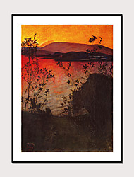 cheap -Framed Art Printing Framed Beautiful Sunset Sea View Abstract Landscape PS Oil Painting Wall Art