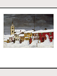 cheap -Art-Framed Pop Cartoon Canvas Printing Modern Famous Street View Snow ScenePS Oil Painting  Wall Art Suitable for Living Room Decoration Ready To Hang
