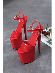 cheap -Women's Dance Shoes Pole Dancing Shoes Heel Buckle Slim High Heel White Black Red Buckle