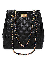 cheap -Women's Bags PU Leather Top Handle Bag Zipper Chain 2020 Daily Date White Black Blue
