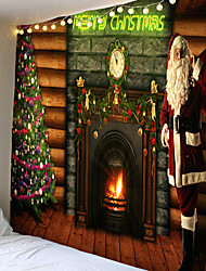 cheap -Christmas Weihnachten Santa Claus Wall Tapestry Art Decor Blanket Curtain Picnic Tablecloth Hanging Home Bedroom Living Room Dorm Decoration Chimney Fireplace Christmas Tree Polyester