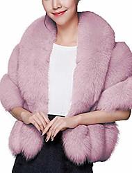 cheap -luxury faux fur coat wedding shawl cape for party/show fenzi2 ca89