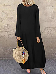 cheap -Women's Shift Dress Maxi long Dress - Long Sleeve Fall Winter Casual Lantern Sleeve Loose 2020 Black Red Green Navy Blue M L XL XXL 3XL 4XL