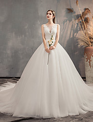 cheap -Ball Gown Wedding Dresses V Neck Watteau Train Lace Sleeveless Formal Elegant with Pleats Embroidery 2020