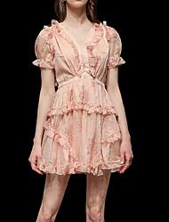 cheap -A-Line Elegant Floral Homecoming Party Wear Dress V Neck Short Sleeve Short / Mini Chiffon with Ruffles 2020