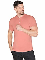 cheap -men casual t shirt v neck short sleeve henley shirts cotton underwear button loose slim fit sport workout outdoor wear gym beach party hiking travel business working autumn & #40;ice red,2l&