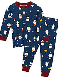 cheap -toddler kids boys children 100% cotton long sleeve organic sleepwear 2pcs pajama pjs set & #40;snow cat navy, 90& # 40; 2y& #41;& #41;