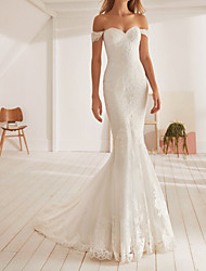 cheap -Mermaid / Trumpet Wedding Dresses Off Shoulder Sweep / Brush Train Lace Sleeveless Formal with Appliques 2021