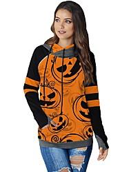 cheap -Women's Pullover Hoodie Sweatshirt Print Basic Hoodies Sweatshirts  Orange