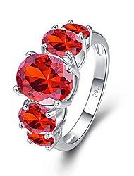 cheap -925 sterling silver created garnet filled 5 stone engagement ring band size 9