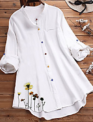 cheap -Women's Blouse Shirt Floral Solid Colored Flower Long Sleeve Shirt Collar Tops Blue Green White