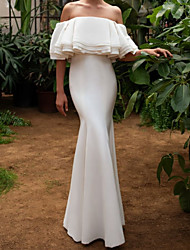 cheap -Mermaid / Trumpet Wedding Dresses Off Shoulder Floor Length Chiffon Satin Sleeveless Vintage with Cascading Ruffles 2021
