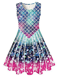 cheap -mermaid girls princess dress kids baby party wedding bridesmaid tutu dress sleeveless high waist ball gown dress school dance vestidos 8-9t