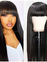 cheap -Remy Human Hair Wig Long Natural Straight With Bangs Natural Black Natural Hot Sale Comfortable Capless Women's Natural Black 16 inch