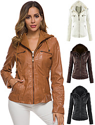 cheap -Women's Winter V Neck Faux Leather Jacket Short Solid Colored Sports Plus Size Beaded White Black Light Brown Brown S M L XL