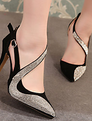 cheap -Women's Heels Stiletto Heel Pointed Toe Sexy Daily Rhinestone Solid Colored Nubuck Almond / Black