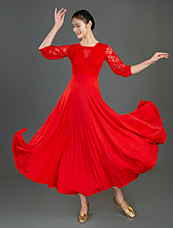cheap -Ballroom Dance Dress Lace Split Joint Women's Training Performance Half Sleeve Milk Fiber