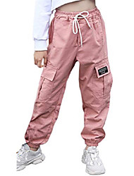 cheap -Girls cargo elastic waist drawstring pants, loose tapered multi pockets cargo jogger pants for girl, pink, 9-10 years