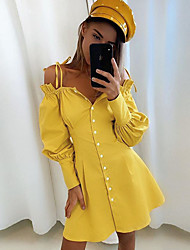 cheap -Women's A Line Dress Short Mini Dress White Yellow Long Sleeve Solid Color Backless Ruffle Patchwork Fall Off Shoulder Casual Cotton 2021 S M L XL
