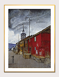 cheap -Framed Art Print Framed Van Gogh Abstract Street View PS Oil Painting Wall Art