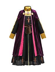 cheap -Anna Dress Party Costume Girls' Movie Cosplay Vacation Dress Halloween Black Dress Cloak Halloween Carnival Masquerade Polyester / Cotton Cotton