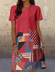 cheap -Women's Shift Dress Knee Length Dress Short Sleeve Color Block Patchwork Spring Summer Hot Casual 2021 Red Green Royal Blue M L XL XXL