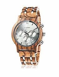 cheap -mens wooden watches luxury wood metal strap chronograph & date dispaly quartz watch versatile male timepieces litbwat