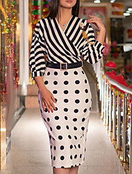 cheap -Women's Sheath Dress Midi Dress - 3/4 Length Sleeve Polka Dot Striped Print Summer Fall V Neck Casual Hot Puff Sleeve Belt Not Included 2020 Black S M L XL XXL