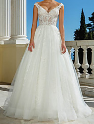 cheap -A-Line Wedding Dresses V Neck Sweep / Brush Train Lace Tulle Sleeveless Beach with 2021