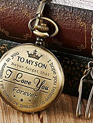 cheap -bronze engraved pocket watch to son i love you gifts from a mom dad birthday gift fob watches chains litbwat